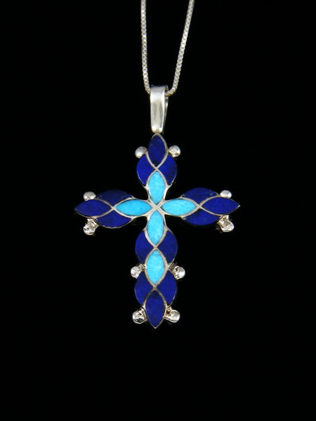 Sterling Silver Zuni Inlay Lapis Cross Necklace Pendant