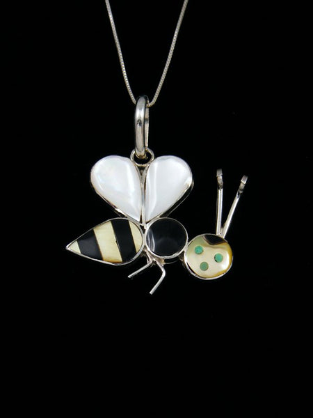 Native American Zuni Inlay Mother of Pearl Bumblebee Pendant