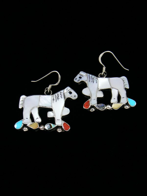 Sterling Silver Mother of Pearl Zuni Dangle Horse Earrings