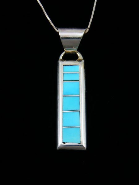 Native American Indian Jewelry Turquoise Inlay Pendant