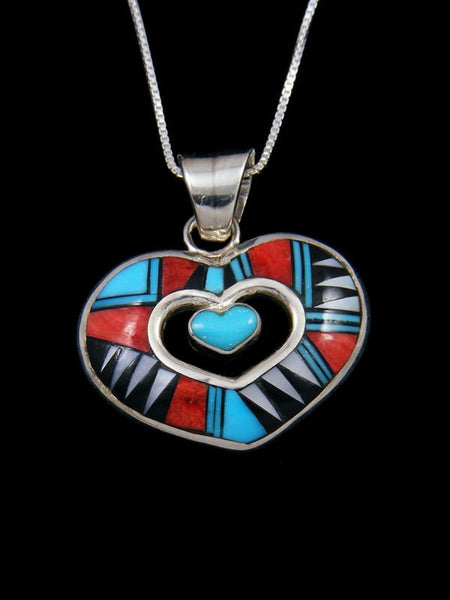 Native American Inlay Zuni Spiny Oyster and Turquoise Heart Pendant