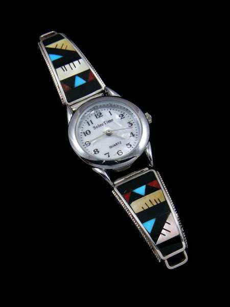 Native American Jewelry Zuni Mother of Pearl Inlay Ladies' Watch