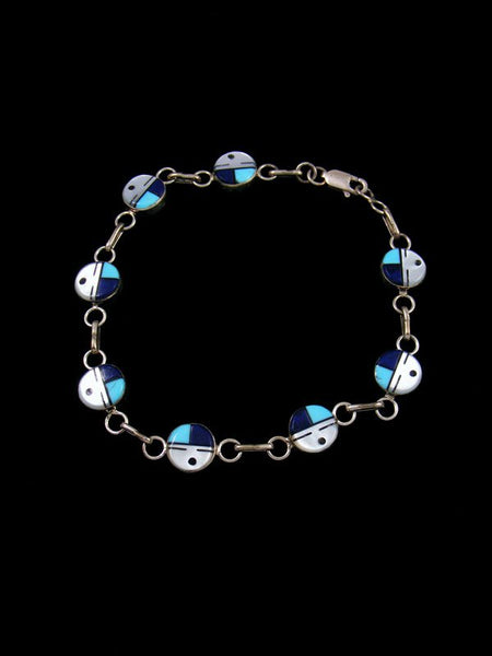 Native American Zuni Sunface Turquoise Inlay Link Bracelet