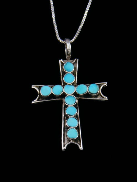 Sterling Silver Zuni Turquoise Inlay Cross Pendant Necklace
