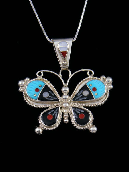 Native American Zuni Inlay Mother of Pearl Butterfly Pendant
