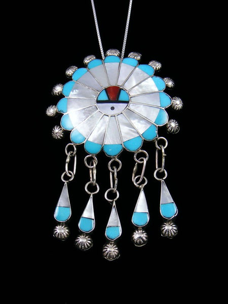 Turquoise Sterling Silver Zuni Inlay Sunface Pin/Pendant