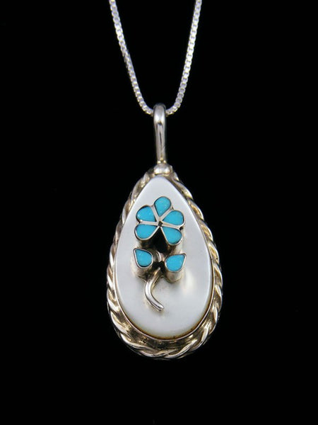 Turquoise Flower Sterling Silver Zuni Inlay Pendant