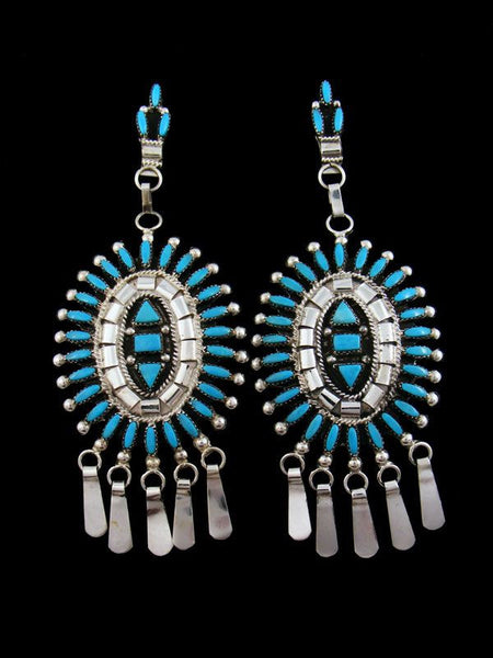 Sterling Silver Zuni Turquoise Earrings by Evonne Hustito - PuebloDirect.com