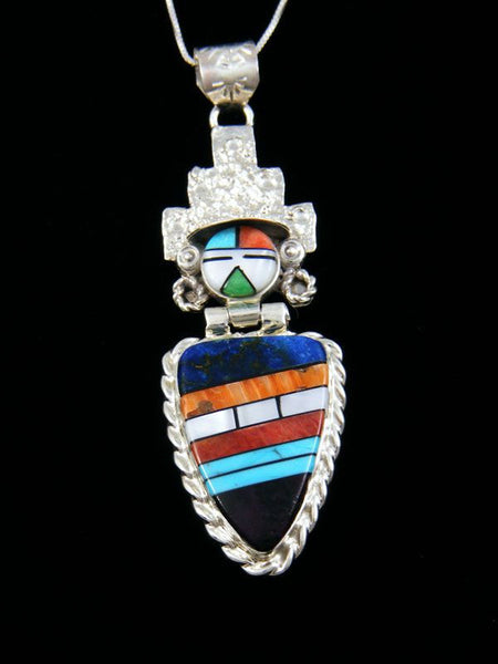 Sterling Silver Native American Zuni Inlay Kachina Pendant by Bevis Tsadiasi - PuebloDirect.com