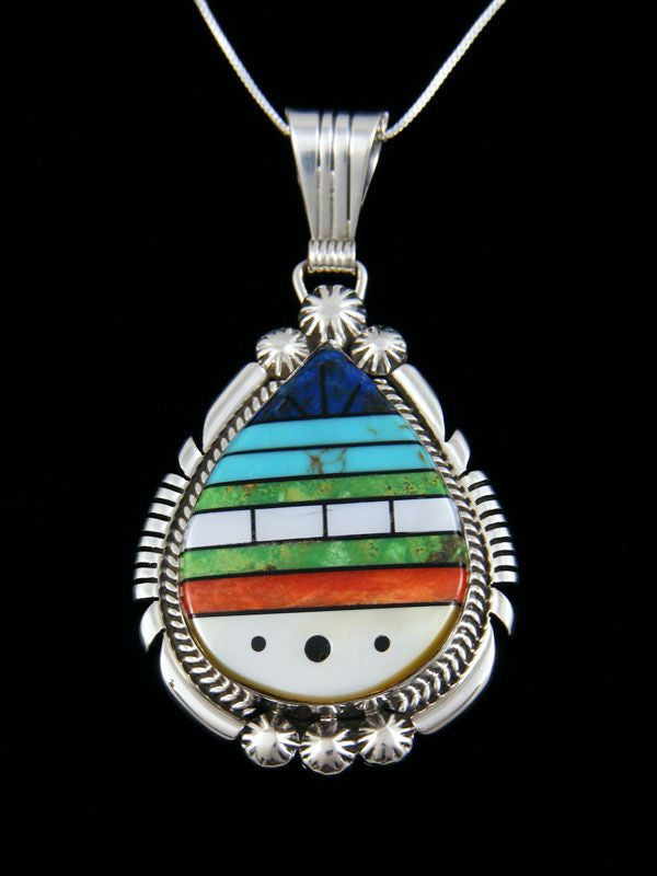 Sterling Silver Native American Zuni Pendant by Bevis Tsadiasi - PuebloDirect.com