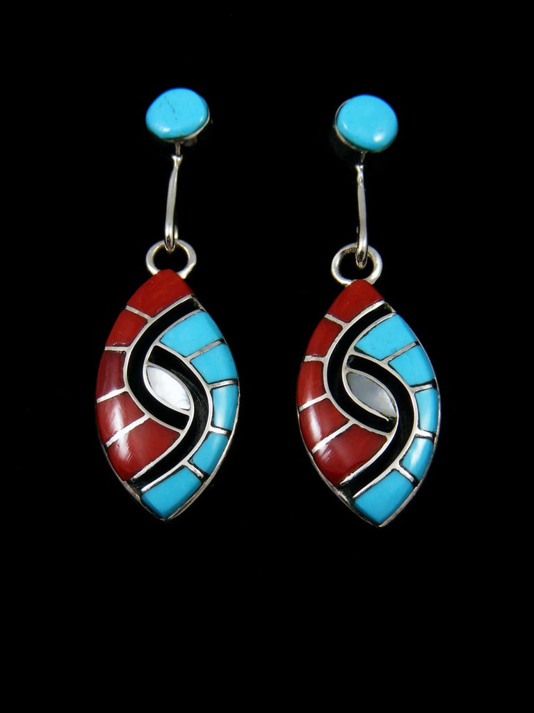 Sterling Silver Zuni Turquoise and Coral Inlay Earrings