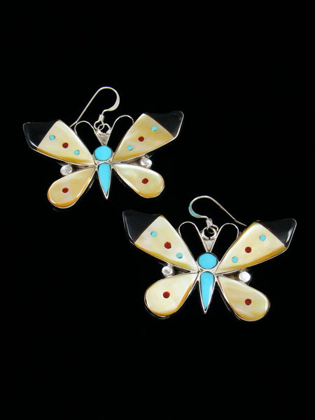 Zuni Inlay Mother of Pearl Butterfly Dangle Earrings