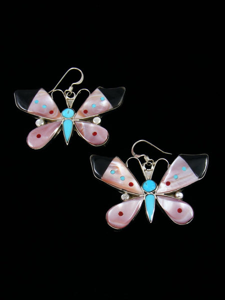 Zuni Inlay Pink Shell Butterfly Dangle Earrings