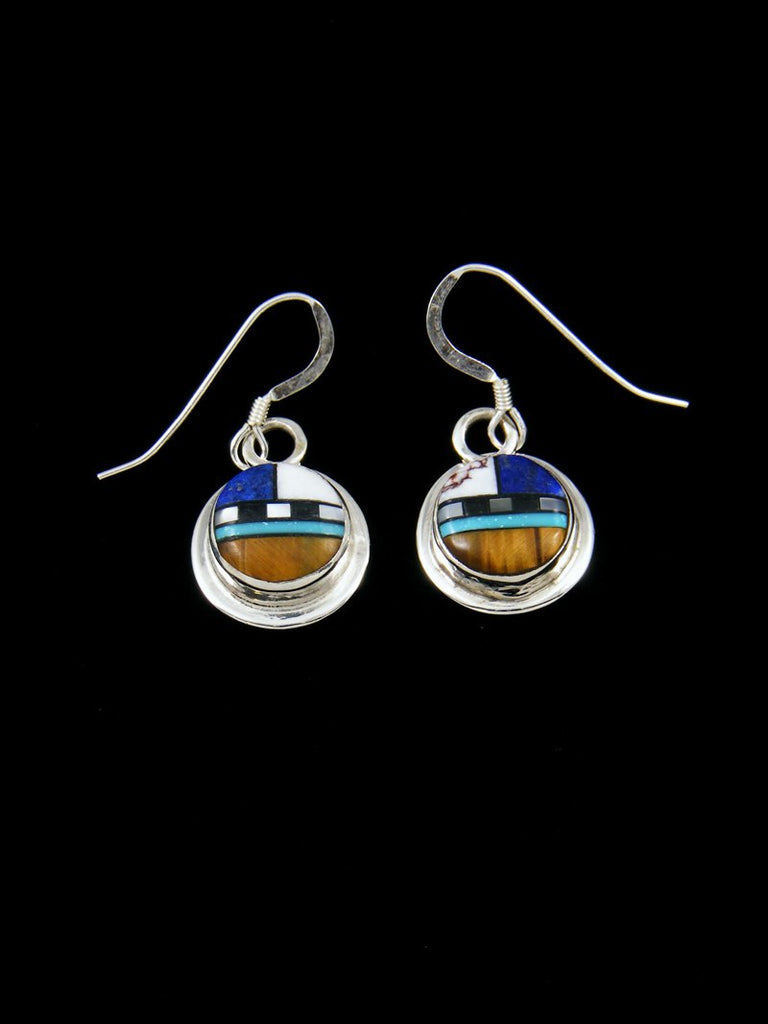 Tiger Eye Zuni Inlay Dangle Earrings