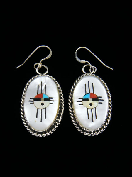 Mother of Pearl Zuni Inlay Zia Sunface Dangle Earrings