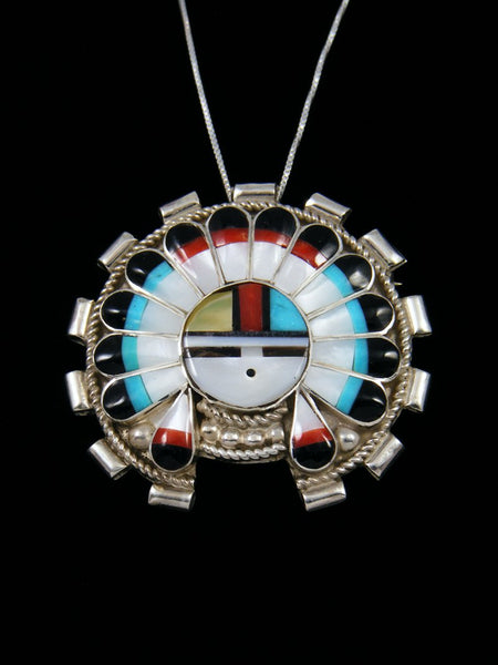 Mother of Pearl Sterling Silver Zuni Sunface Pendant
