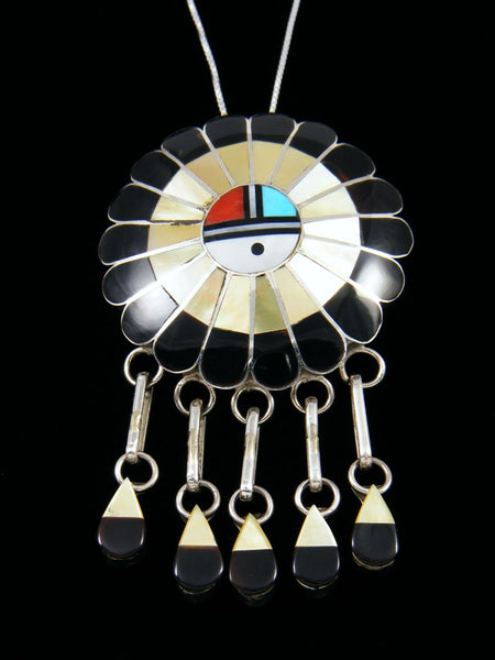 Mother of Pearl Sterling Silver Zuni Sunface Pin/Pendant
