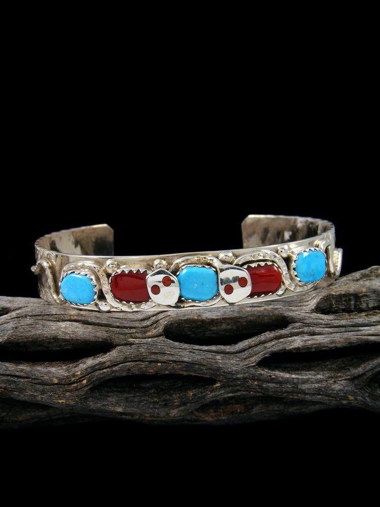 Zuni Pueblo Sterling Silver Turquoise and Coral Bracelet