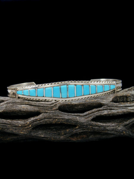 Sterling Silver Turquoise Zuni Inlay Bracelet