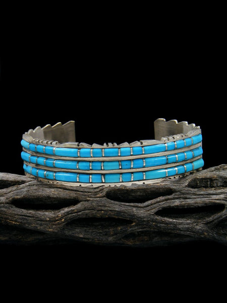 Triple Row Sterling Silver Zuni Turquoise Inlay Bracelet