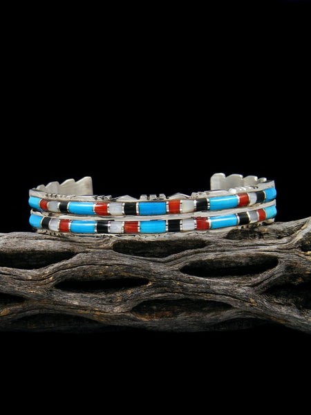 Sterling Silver Zuni Coral and Turquoise Inlay Bracelet