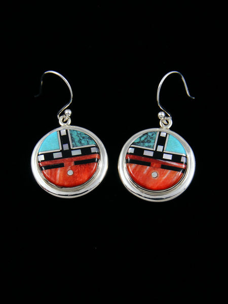 Spiny Oyster Zuni Inlay Sunface Dangle Earrings