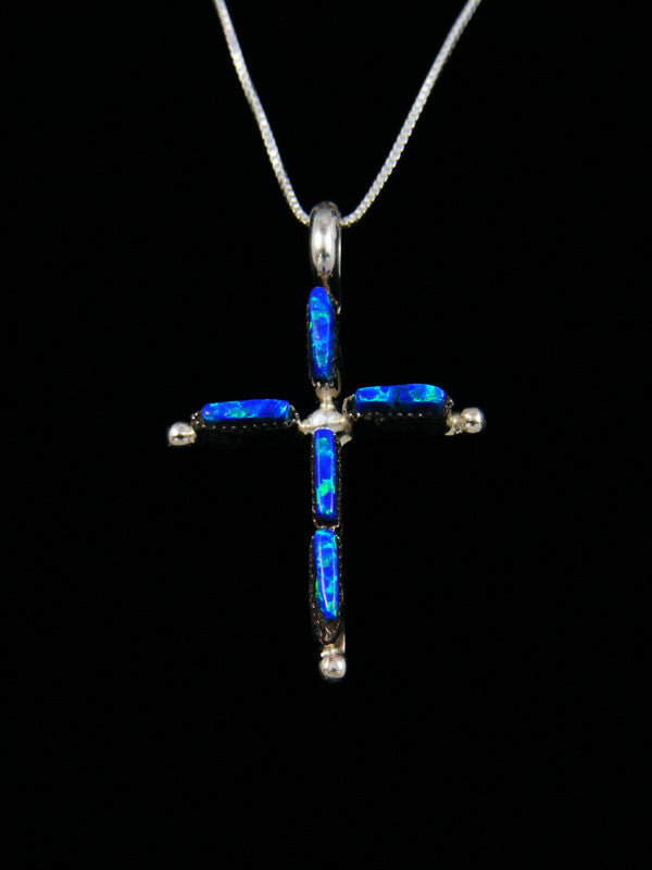 Sterling Silver Zuni Inlay Blue Opal Cross Pendant