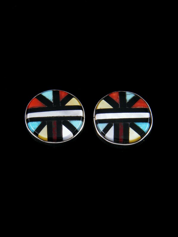 Sterling Silver Zuni Inlay Turquoise and Coral Post Earrings