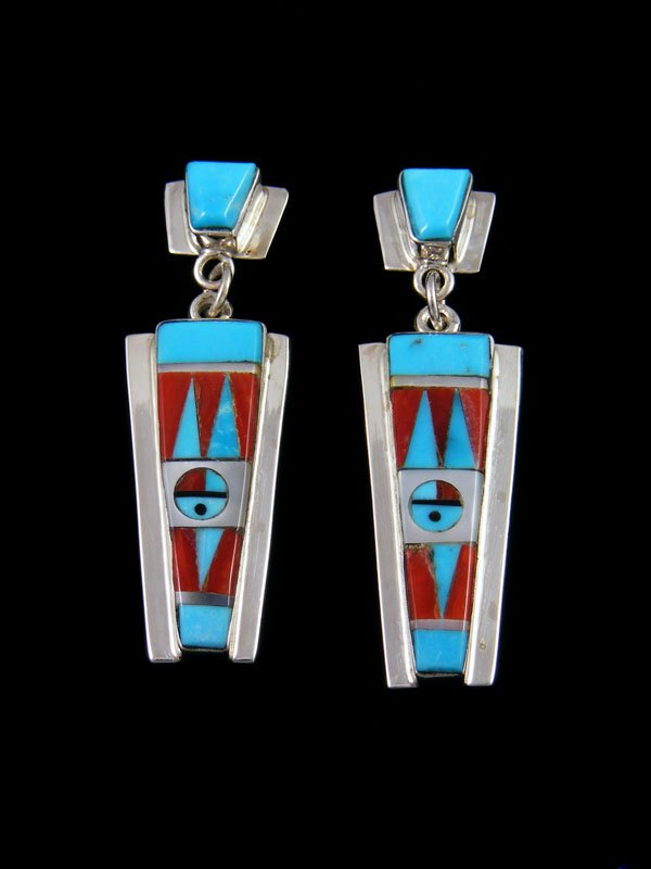 Turquoise Zuni Inlay Sunface Post Earrings