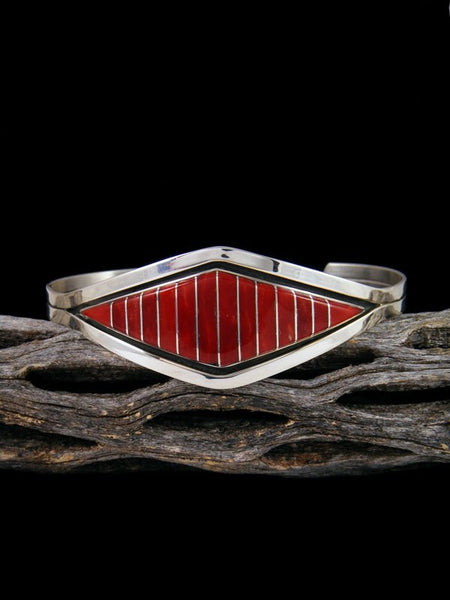 Native American Zuni Red Coral Inlay Bracelet