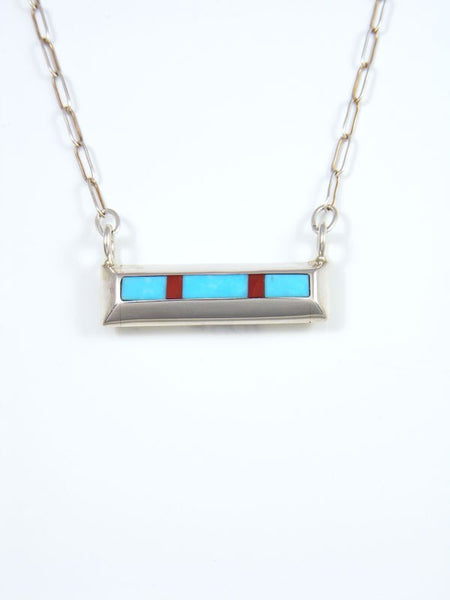 Native American Indian Jewelry Turquoise and Coral Inlay Necklace