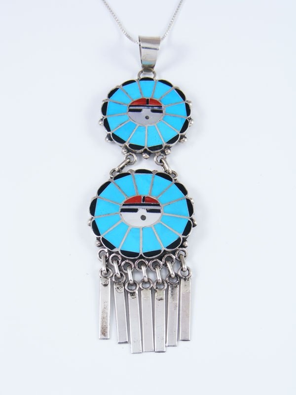 Sterling Silver Zuni Sunface Turquoise Inlay Pendant