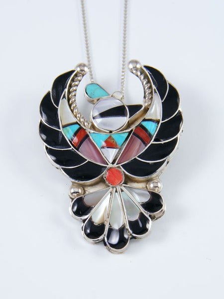 Mother of Pearl Sterling Silver Zuni Thunderbird Pin Pendant