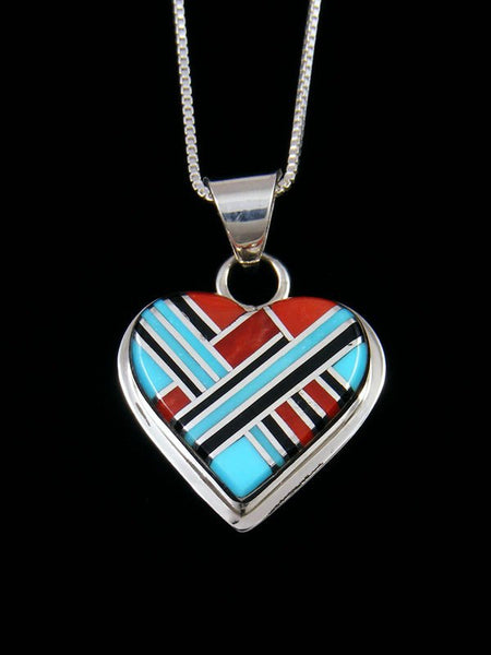Native American Inlay Zuni Turquoise Heart Pendant