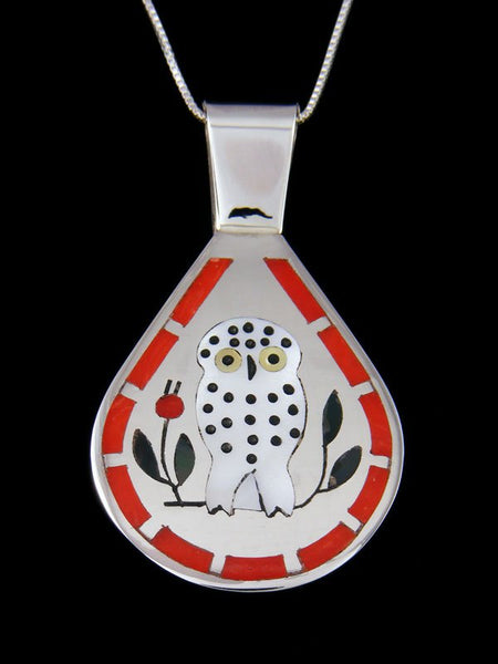 Native American Indian Jewelry Owl Inlay Pendant