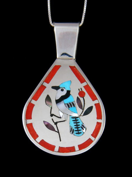 Native American Indian Jewelry Bluejay Inlay Pendant