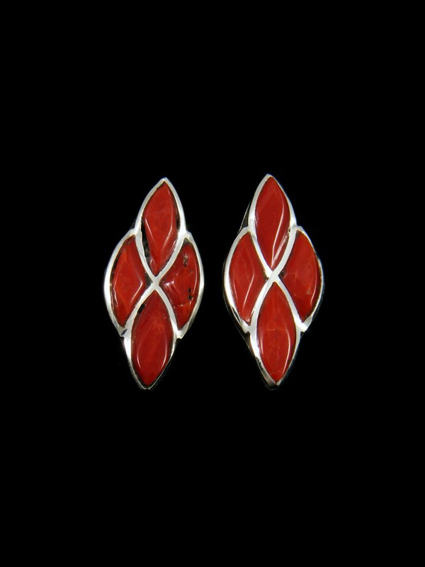 Sterling Silver Zuni Coral Earrings