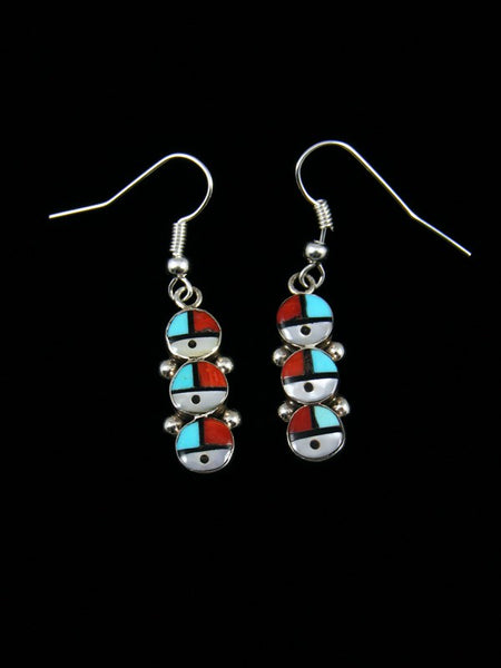 Zuni Inlay Sunface Dangle Earrings