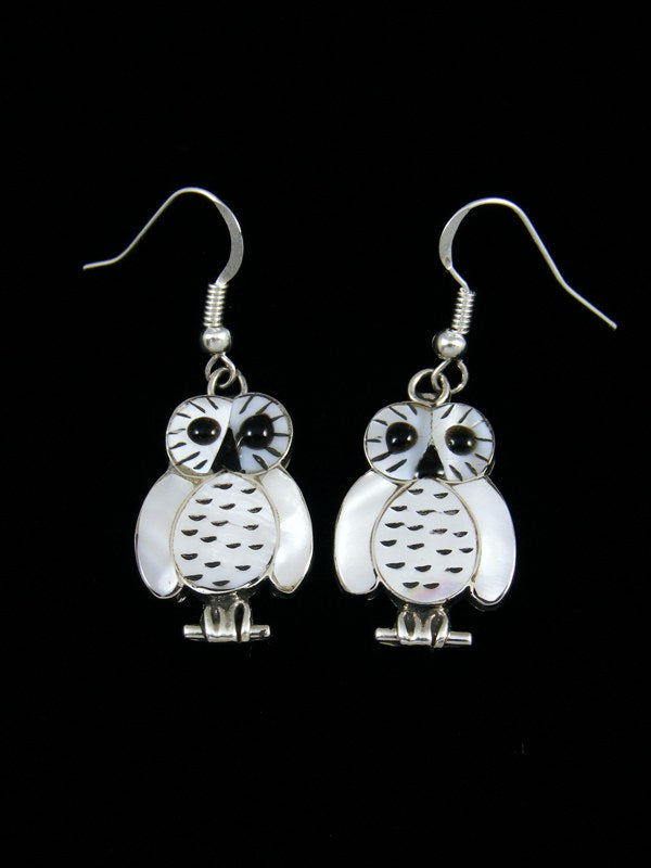 Mother of Pearl Zuni Inlay Owl Dangle Earrings