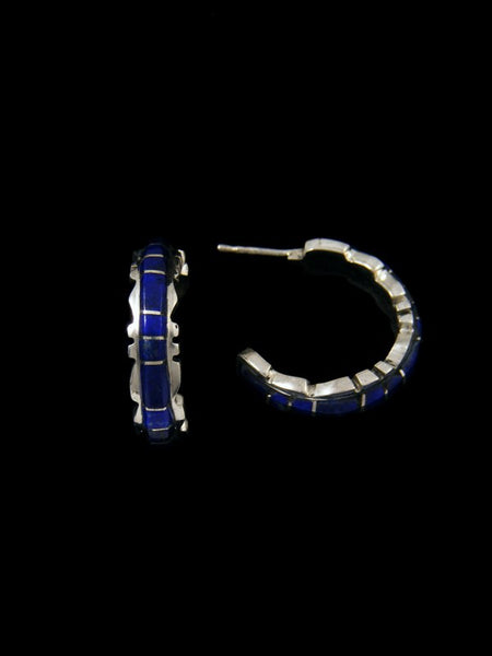 Lapis Zuni Inlay Half Loop Earrings