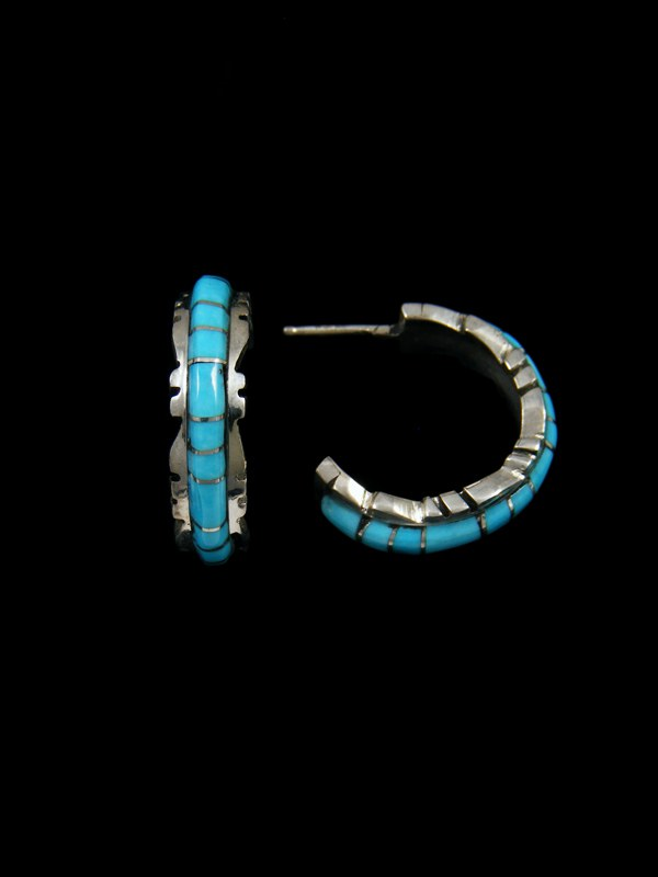 Zuni Turquoise Inlay Half Hoop Earrings