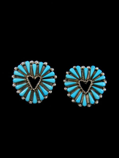 Sterling Silver Turquoise Zuni Heart Post Earrings