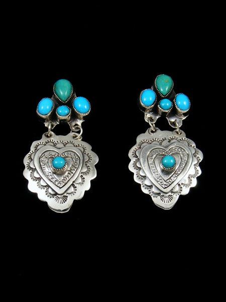 Navajo Kingman Turquoise Sterling Silver Heart Post Earrings