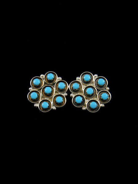 Sterling Silver Turquoise Cluster Zuni Earrings