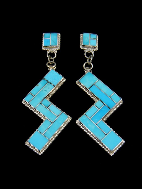 Sterling Silver Zuni Turquoise Earrings