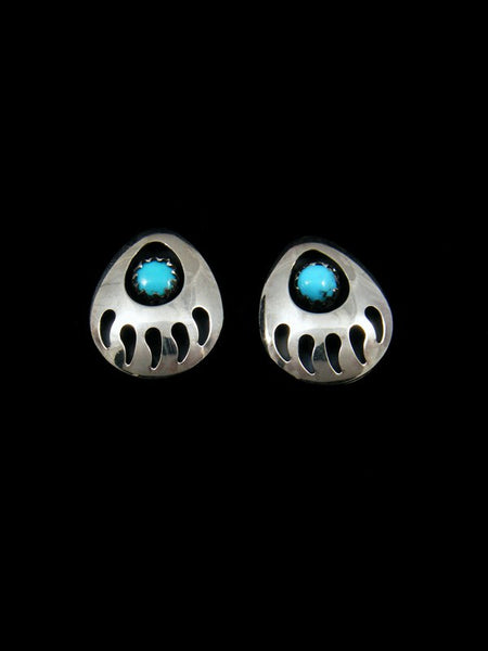 Bear Paw Post Earrings with Turquoise