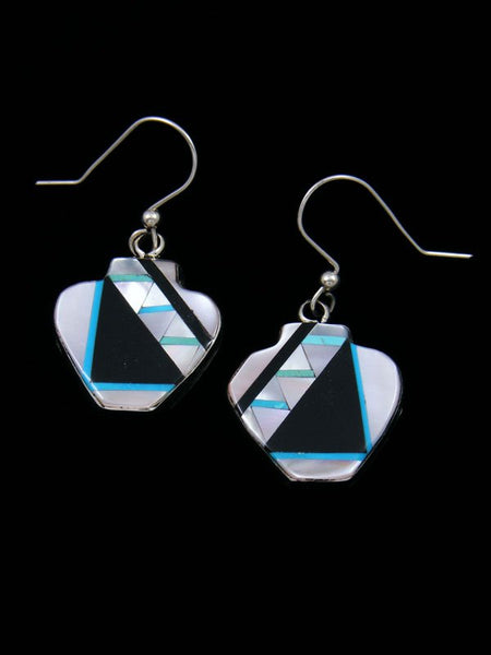 Mother of Pearl Zuni Inlay Pottery Dangle Earrings