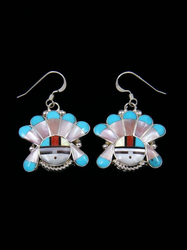 Zuni Inlay Turquoise Sunface Dangle Earrings