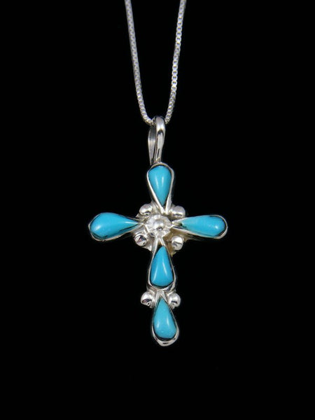 Sterling Silver Zuni Inlay Turquoise Cross Necklace Pendant