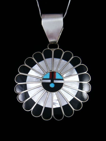 Native American Mother of Pearl Zuni Inlay Sunface Pendant